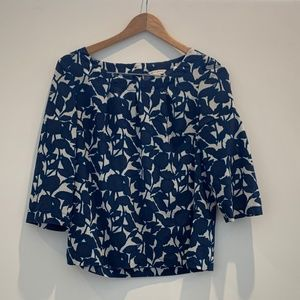 Banana Republic Blue and White Printed Top
